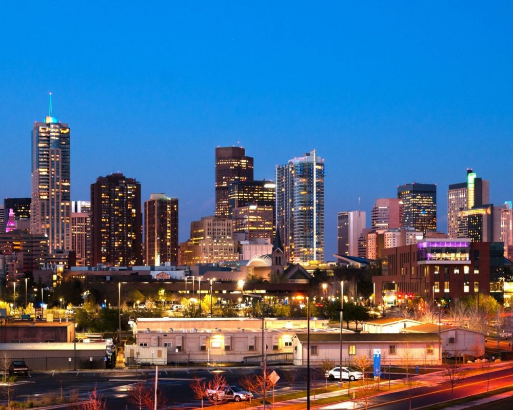 The buildings and architecture of Denver Colorado at dusk