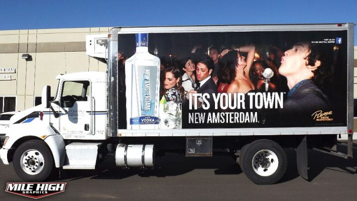 Photo of drivers side box truck wrap by Mile High Graphics for New Amsterdam Vodka
