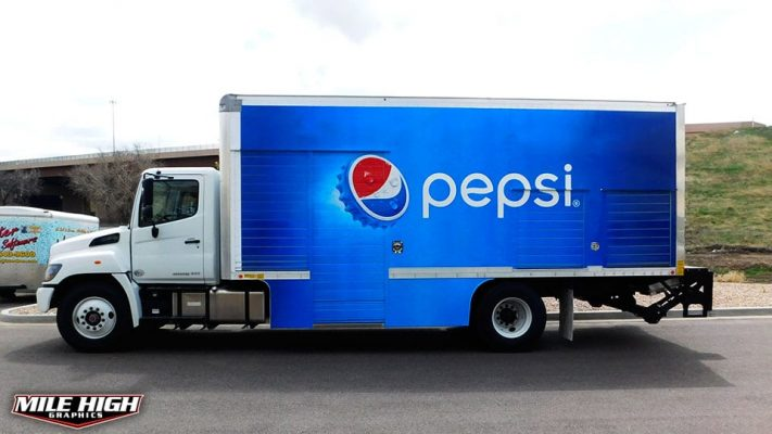 Photo of drivers side box truck wrap by Mile High Graphics for Pepsi
