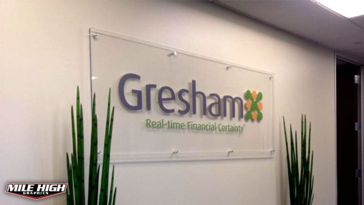 Photo of Acrylic Sign with Standoffs by Mile HIgh Graphics for Gresham Financial.