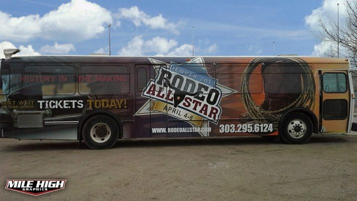 Photo of drivers side bus wrap by Mile High Graphics for Rodeo All Stars