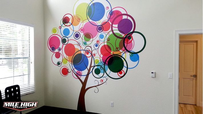Photo of colorful Contour Cut Wall Graphics by Mile HIgh Graphics.