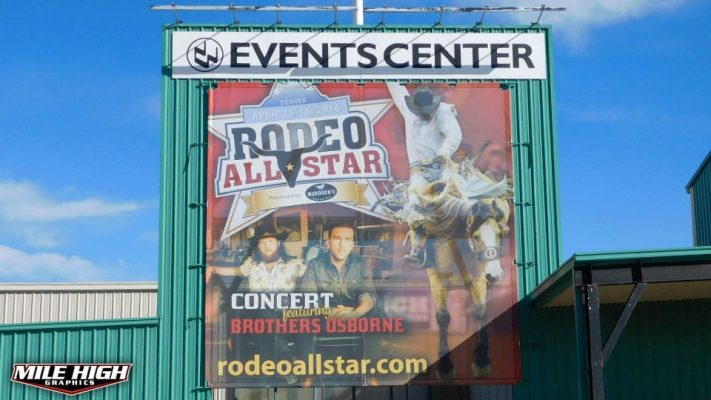 Photo of outdoor mesh banner by Mile High Graphics for Rodeo All Stars