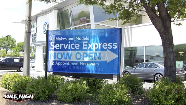 Photo of now open custom mesh banner by Mile High Graphics for Volkswagen, Lakewood.