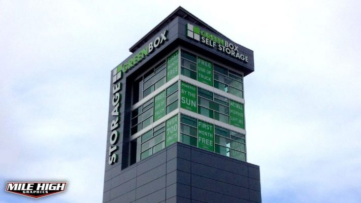 Photo of Custom Window Graphics by Mile High Graphics for Greenbox Storage.