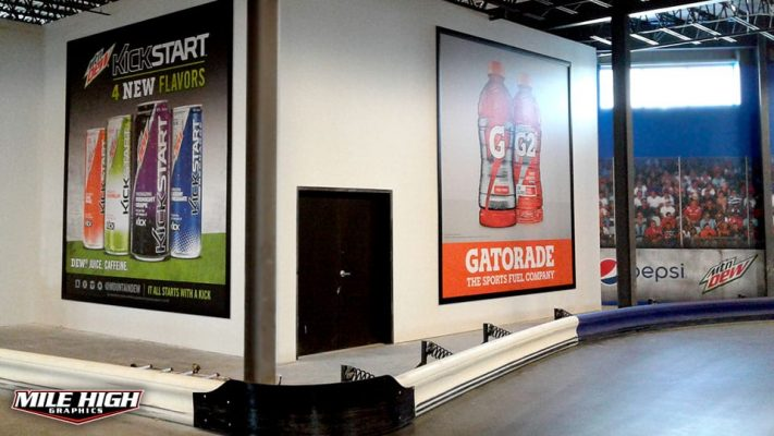 Photo of 2 indoor banners by Mile High Graphics for Overdrive Raceway