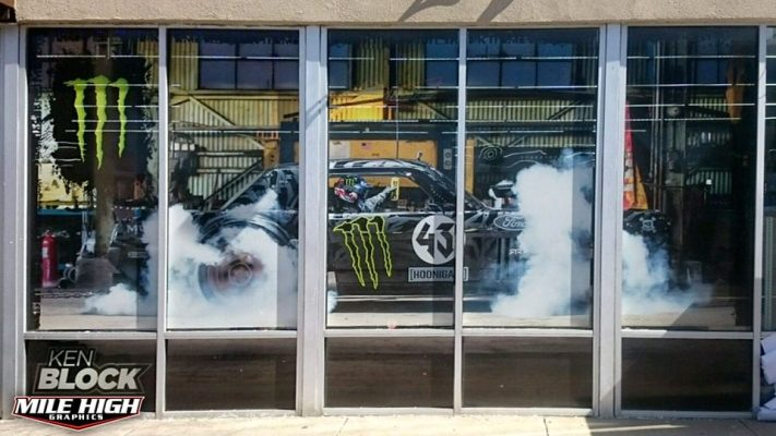 Photo of Custom Window Graphics by Mile High Graphics for Monster Energy.