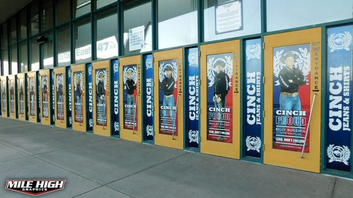 Photo of Custom Window Graphics by Mile High Graphics for Cinch Jeans.