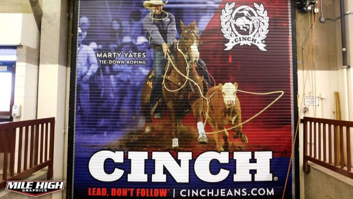 Photo of Rollup Garage Door wrap by Mile High Graphics for Cinch Jeans.